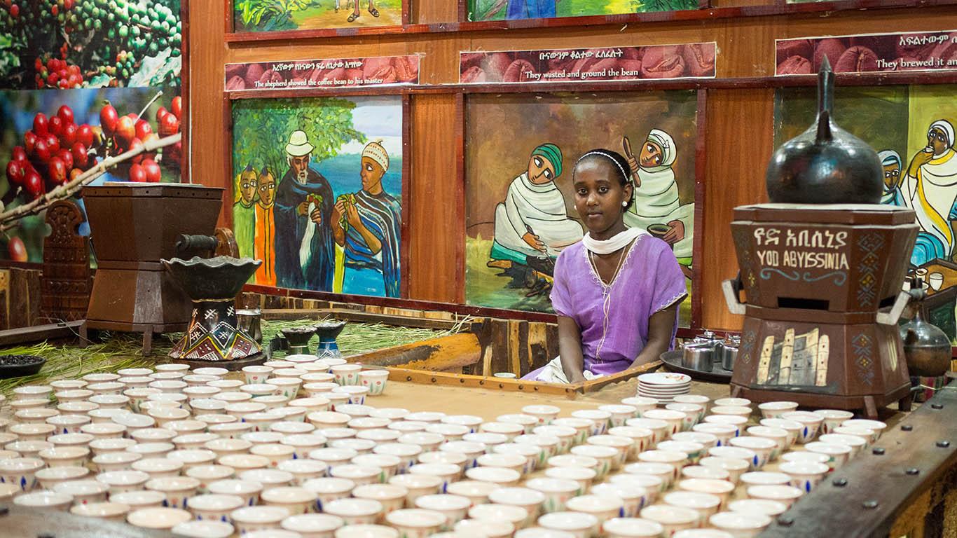 Il caffè Tradizionale della cucina etiope, Addis Ababa, Ethiopia