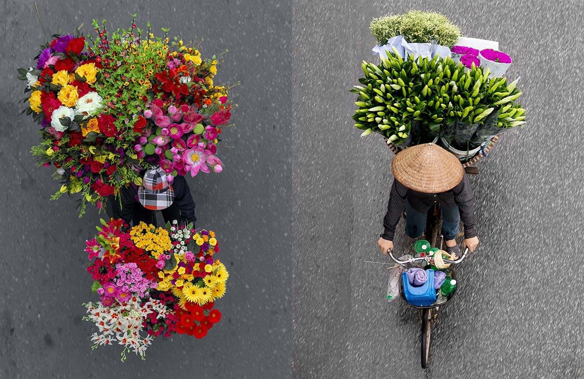 Fiori in bici in Vietnam
